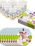 HomeTools.eu - Einhorn Unicorn Party-Geschirr Set Castle | Papp-Teller, Plastik-Becher, Servietten | 8 Personen | 36-Teilig