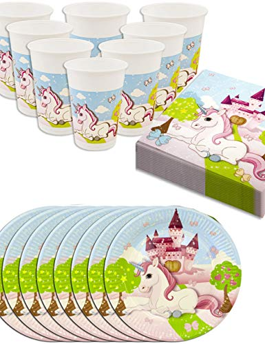 HomeTools.eu® - Einhorn Unicorn Party-Geschirr Set Castle | Papp-Teller, Plastik-Becher, Servietten | 8 Personen | 36-Teilig