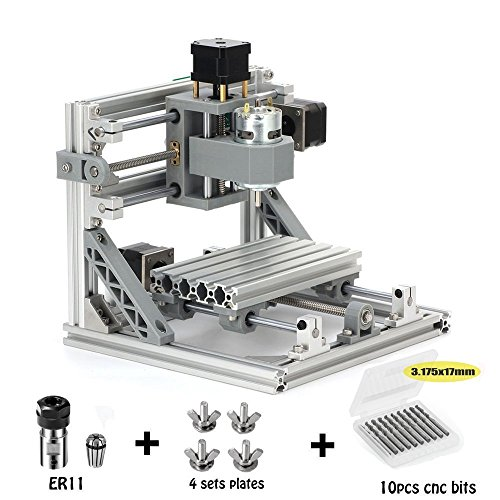 Beautystar DIY CNC Router Kits 1610 GRBL Control Wood Carving Milling Engraving Machine (Working Area 16x10x4.5cm, 3 Axis, 110V-240V)