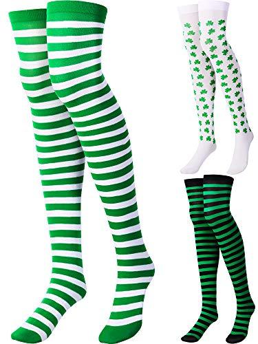 e106abea0bfb Zhanmai Trifoglio Coscia Alta San Patrizio Calzini Irlanda Calze a Strisce  per le Donne Costume Festa