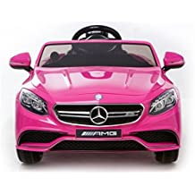 Coche eléctrico para niños Mercedes Benz S63, con LICENCIA OFICIAL, con mando a distancia para control parental, 12V, color rosa