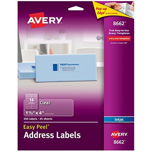 Avery klar leicht schälen Adress-Etiketten für Inkjet Drucker 1-1/7,6x 10,2cm 350Stück (8662) (Avery Adressetiketten Inkjet)
