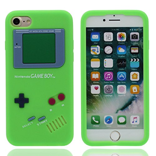 "Étui de Protection Apple iPhone 7 4.7"", Souple Silicone Rubber iPhone 7 Coque Case Dessin original Game Boy Playstation Apparence Serie Ultra Fine Style Poids léger Vert"