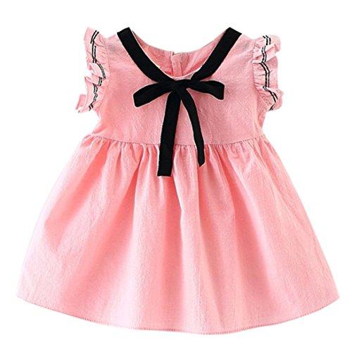 Baby Jungen Mädchen Bowknot Kinder Kleid Solid Denim Kleidung Kleid Xinantime (6-12 Monat, Pink 2)