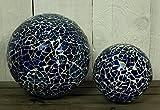 Unbekannt 2er Set Dekokugeln Mosaik-Kugel Kugel blau maritim aus Glas Ø ca. 8,5 + 12,5cm