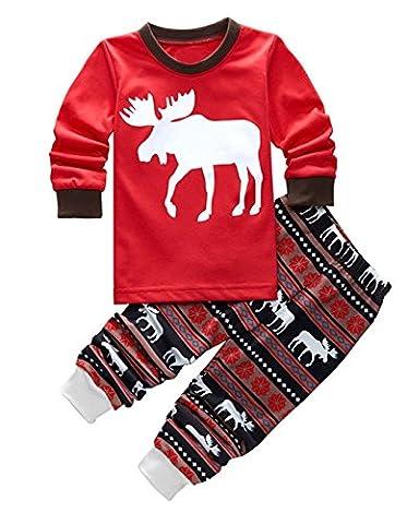 CRAVOG Enfant Unisexe Ensemble de Pyjama Imprimé Rennes du père Noël Vêtements de nuit Coton 2 Piece Set 1-9 ans