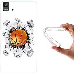 Funda Bq Aquaris E5, WoowCase [ Bq Aquaris E5 ] Funda Silicona Gel Flexible Balon de Baloncesto, Carcasa Case TPU Silicona - Transparente