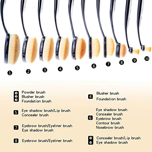 Makeup Brushes Start Makers Professional 10 Pieces Oval Makeup Brushes Sets (Features Powder, Concealer, Contour, Foundation, Blending, Eyebrows, and Eye Liner Brushes) with Soft Oval Toothbrush Design and Gift Box & Rose beauty blender