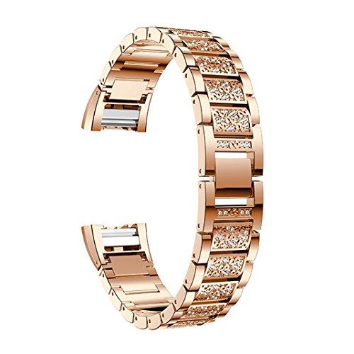 Armband für Fitbit Charge 2,Uhrenarmband Fitbit Charge 2 Damen Armbänder Roségold Aottom Kristall Metall Gliederarmband Ersatzarmband Smartwatch Armband Uhrenband Fitness tracker Wristband mit Metallschließe für Fitbit Charge 2
