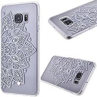 GrandEver Gel Silicone Custodia per Samsung Galaxy S6 Edge Plus,Transparente UltraSlim Morbido TPU Back Cover Bumper, Flexible Soft Protettivo Case Copertura Disegno Speciale - Girasole