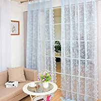 BATSDCB Romantic Princess Embroidered Window Curtains, Sheer Lace Gorgeous Voile Curtains For Livingroom Bedroom,1 Panel-blue 150x150cm(59x59inch)