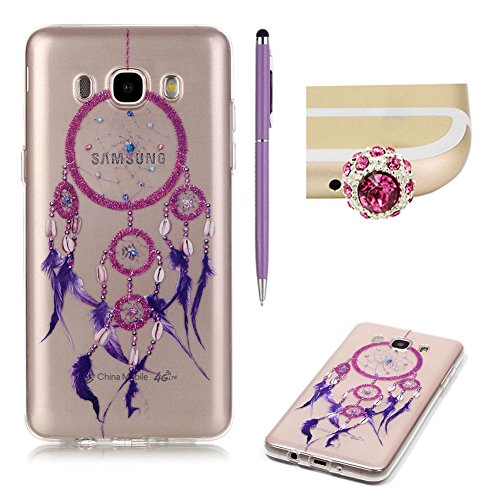 Samsung Galaxy J5 2016 Case Clear Silicone,SKYXD Samsung Galaxy J5 2016 Case Transparent With Pattern Purple Feather Dream Catcher Design Soft Gel Rubber Skin Premium Flexible Slim Thin Back Cover Crystal Clear Protective Case For Samsung Galaxy J510 J5 2016 Model +1x Cute Crown Dust Plug +1x Stylus Touch Pen Test