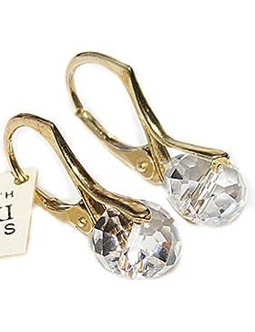 Tolle handgefertigte ® Briolette 8 mm Swarovski Elements Gold auf Sterling Silber ohrrings. Stamped. In einer...