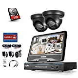 SANNCE Videoüberwachungs Set 4CH 720P Überwachungskamera mit Monitor DVR Recorder 10,1 Zoll Display Überwachungssystem mit 2 Kameras 720P mit 2TB Festplatte für innen und außen Bereich