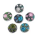 Souarts Gemischte Runde Blume Click Button mit Strass 4.5mm Druckknöpfe Set 6 Stücke