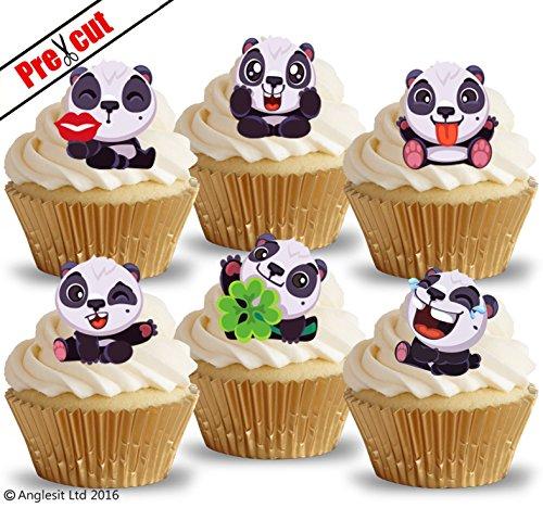 vorgeschnittenen Cute Pandas i. essbarem Reispapier/Wafer Papier Cupcake Kuchen Dessert Topper Geburtstag Baby Dusche Party Dekorationen