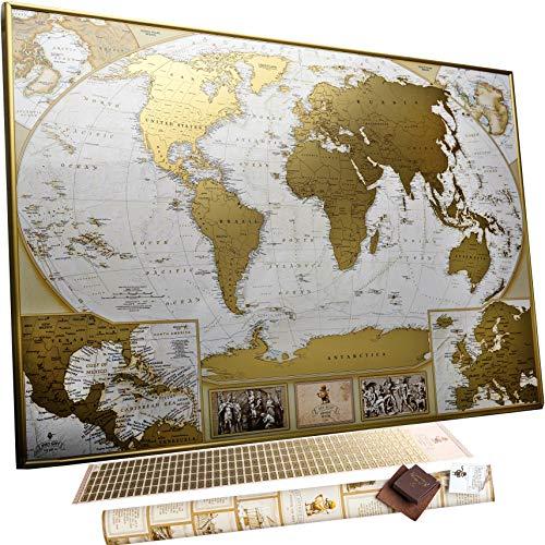 Große Deluxe Rubbel-Weltkarte - Karte zum Rubbeln - Sie können10 000 Städte und Orte markieren (Große Weltkarte)