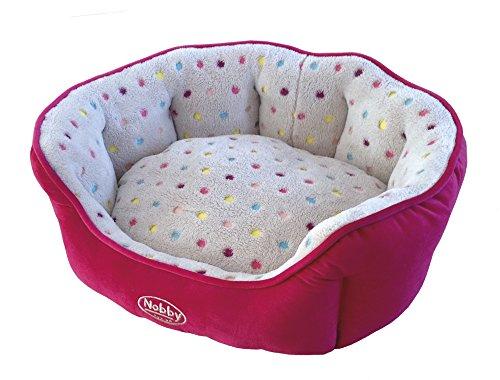 Nobby 60657 Komfort Bett oval Spot, hellgrau-pink, 65 x 57 x 22 cm