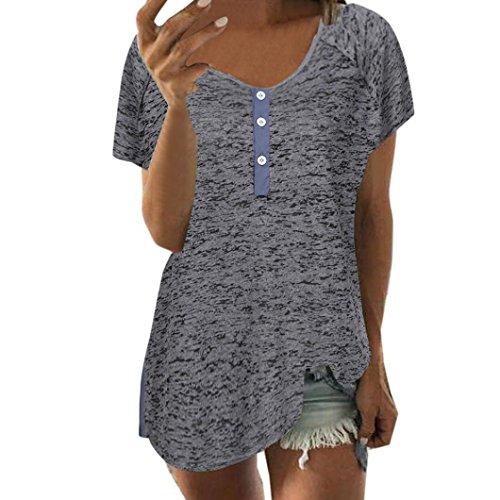VJGOAL Damen T-Shirt, Damen Mädchen Kurzarm Lose Bluse Casual Knopf Kurzarm Sommer Tank Tops Geschenk der Frau (XXXXL, Dunkelgrau)