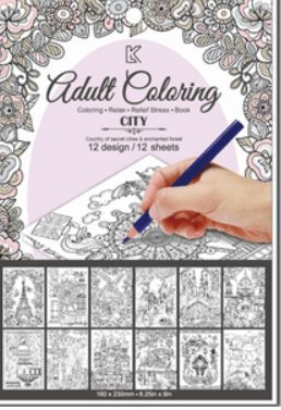 Zum Ausmalen Anti Stress Malbuch für Erwachsene City Städte 12 Motive Größe 23 cm x 16 (Party Kostümen Bilder Von Stadt)