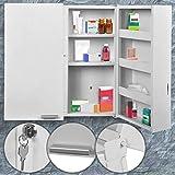 Armoire à Pharmacie Murale | Grand (53x53x20cm) avec 11 Compartiments et 2 Portes,...