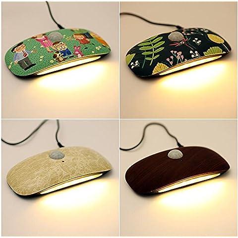 NASEN LED noche cuerpo ligero inducción, tales como el control de luz activado por voz LED lámpara bebé noche luz lámpara de ahorro de la energía creativa ,