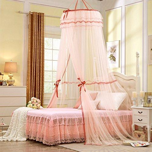 Unimall Rund Moskitonetz BaldachinKinderzimmer Mädchen Rosa mit Lace Spitzen Prinzessin Betthimmel für Schlafzimmer gegen Insetzen Mücken Rosa