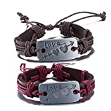 #8: Via Mazzini His-Her LOVE Leather Matching Couple Bracelets For Girls And Boys (Bracelet0395)