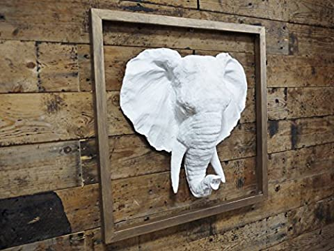 White Elephants Head Bust Garden Statue Ornament Resin Wall Art