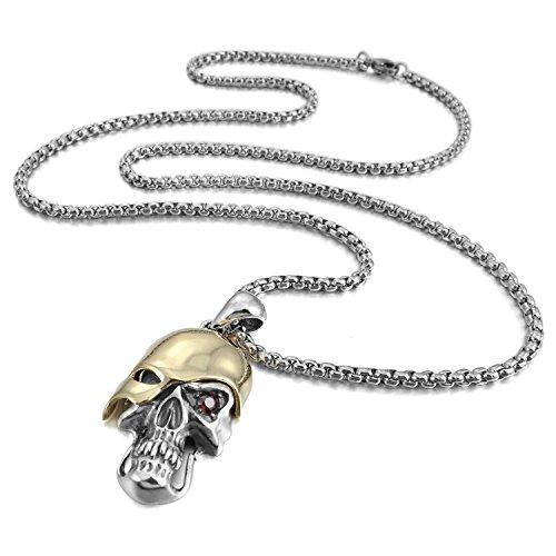 Collar con colgante de plata de ley 925 con diseño de calavera gótica para hombre, cadena de 58 cm 1