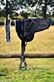 Cwell Equine New Antiscivolo in Micro Suede Bareback Saddle Pad with Free Circonferenza e staffe Nero, Marrone (Nero).