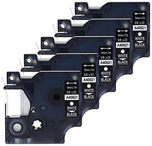 Label-drucker Dymo Wireless (5 Kassetten D1 40921 weiß auf schwarz 9mm x 7m Schriftband kompatibel für DYMO LabelManager LM 100, 110, 120P, 150, 155, 160, 200, 210D, 220P, 260, 260D, 280, 300, 350, 350D, 360D, 400, 420P, 450, 450D, 500TS, PC, PC2, PnP, PnP Wireless, LabelPoint LP 100, 150, 200, 250, 300, 350, LabelWriter LW 400 Duo, 450 Duo Beschriftungsgerät)