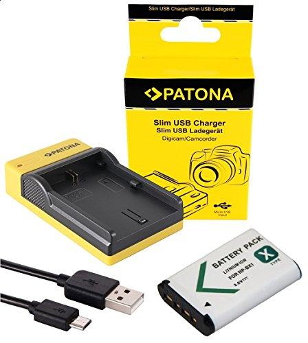 Slim Ladegerät + Akku für die Sony DSC-WX350 | Akku für Sony NP BX1 | einfach mit jedem Micro-USB Kabel/Ladegerät (z.B. Smartphone) zu verwenden (Kamera Slim Sony)