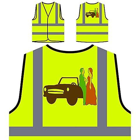 Hochzeits-Einladung Braut Personalisierte High Visibility Gelbe Sicherheitsjacke Weste o267v (Personalisierte Einladungen)