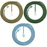 DLAND [3-Pack] 3 Colors Fashion Fishnet Braided Nylon Micro USB Cable USB Charge Data Charge Micro USB to USB Lightning USB Charge 6.5 feet(2.0 Meters) -Tangle Free Heavy Duty Lightning Charger Cable Cord for Samsung, HTC, Motorola, Nexus, Nokia, LG, HP, Sony, Blackberry and Many More [Green,Blue,Yellow]