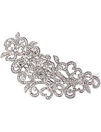 TENYE Peine para novia, diseño de trébol de boda con cristales austriacos, color plateado