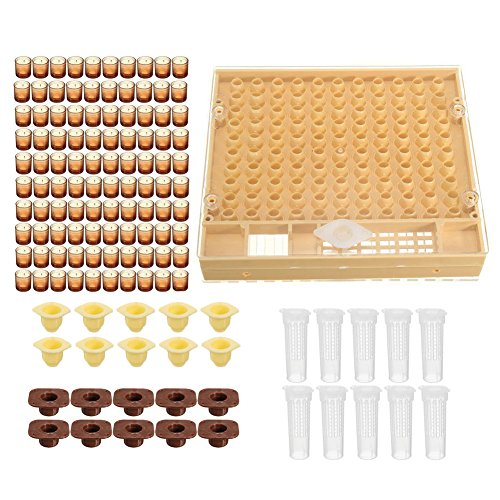 Bienenzucht Komplett Queen Aufzucht Kit, Kompletter Catcher Käfig Bienenzucht Helfer mit Zelle Tasse/Queen Schutzhülle/Kamm Box