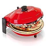 SPICE SPP029-R Horno Pizza Diavola y Caliente con Piedra refractaria 400Grados. Resistencia Circular Pietra 32 CM Rosso, 18/8 Stainless Steel