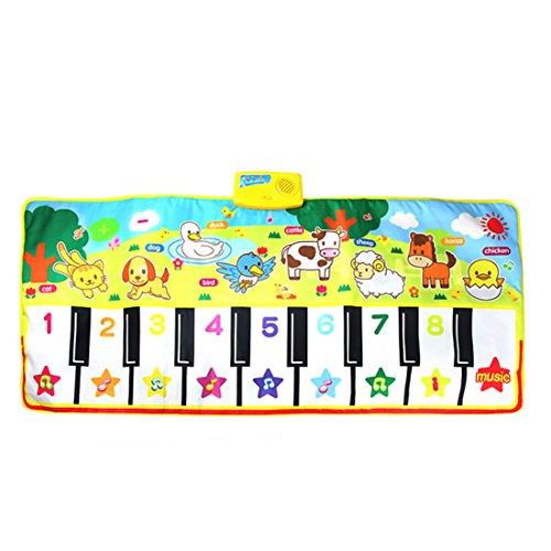 Lommer Musik Spielzeug, 135x58CM Kinder Musik Klavier Matte Musikmatte Tanzmatten Musikteppich Keyboard Teppich Musikinstrumente mit Licht Effekt für Kinder Kleinkind, Baby 2, 3 Jahre