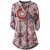 YANG YI Clearance Offer Women's Casual Stylish Floral Print V Neck Long Sleeves Tops T-Shirts & Shirts Button Layered Blouses
