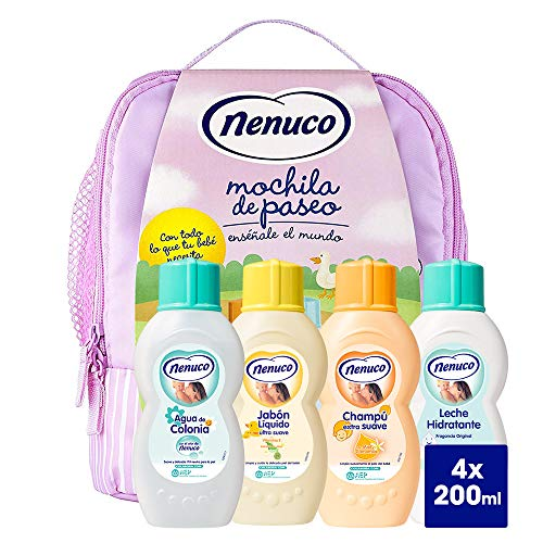 Nenuco Pack Regalo Bebé Mochila de Paseo Rosa 4 x 200ml con...