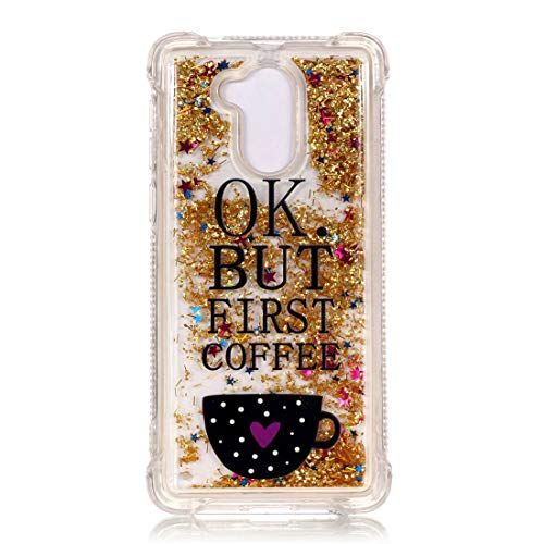 YuanYuZhongPhoneSky Kompatibel mit Huawei Enjoy 6s Hülle Shell Glitzer-Flüssig TPU Silikon-Gel-Gummi Ultra-dünne dünne transparente freie Auto Schutzhülle Bling Kratzfest Stoß- - Kaffeebecher