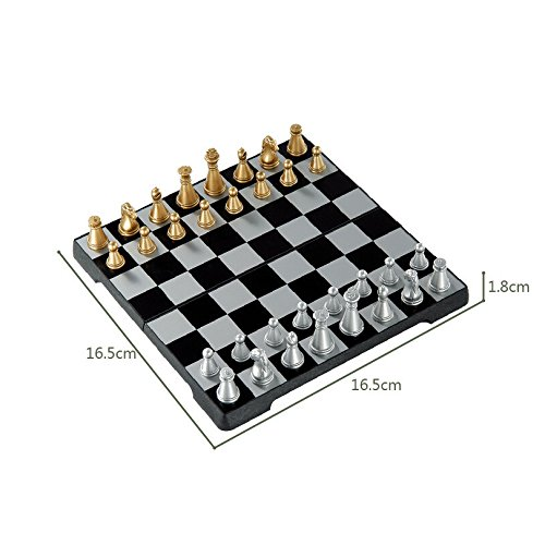 RUNACC 3 in 1 Travel Magnetic Chess Set Foldable Chess Portable Chess Kit with Chess Board and Chess