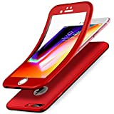 Coque iPhone 8 Plus,Coque iPhone 7 Plus,Intégral 360 Degres Full Body Protection Etui Film Protection en Verre trempé Gel Silicone TPU Souple Case Coque Housse Etui pour iPhone 8 Plus/7 Plus,Rouge
