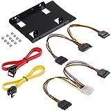 Poppstar Einbau-Kit und S-ATA Kabelset für Interne 2,5 Zoll SSD - HDD inkl. Einbaurahmen, Kabel 1x Y Strom, 1x Y Daten 2X Sata 3 (Stecker 1x gerade-gerade, 1x gerade-gewinkelt)