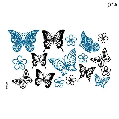 Tatuaggi temporanei, mini tatuaggi finti conrose, animali, fiori e farfalle, per braccia, spalle, petto, schiena