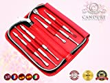 CANDURE® - 6 Pieces Beauty Set - Professional Blackheads Whiteheads Remover Extractor Facial Tool - blemish remover - Skin care tools - Comedone Extractor - Facial Treatment - Treatment of Acne and Pimple - Flat and Round Wired Ends - Stainless Bild 1