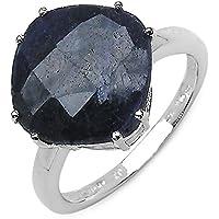 9.81carati Zaffiro blu anello in argento 3.19grammi