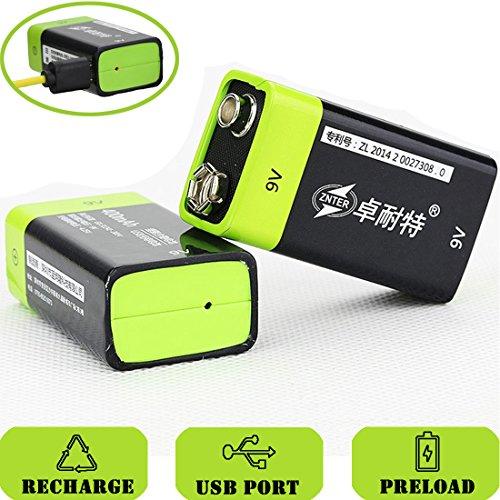 SOEKAVIA Batería de 9 V Prismatic Micro USB integrado polímero de litio recargable con cable USB (Negro + Verde) 2PCS