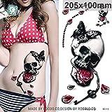 HXMAN Grande Tatuaggio Adesivo Cool Halloween Falso Braccio Manioffice Teschio Con Il Tatuaggio Temporaneo Per Gli Uomini Armeggiare (2 Pacchetto) 205 x 100mm